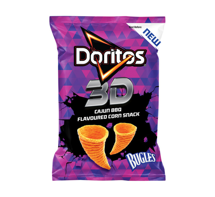 Doritos 3D Bugles Corn Snack Cajun Bbq (20 x 100g)