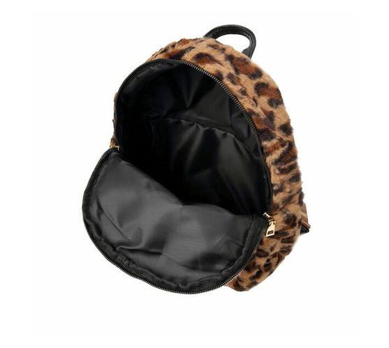 Faux Leopard Fur Backpack - Brown