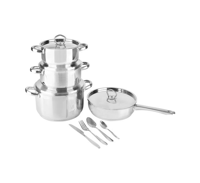 Tissolli Stainless Steel Cookware Set plus 16-Piece Cutlery Set