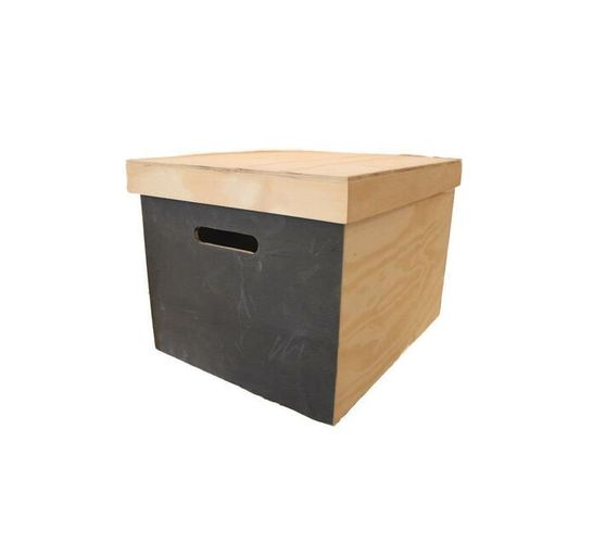 Large chalkboard Storage box natural - Wood .