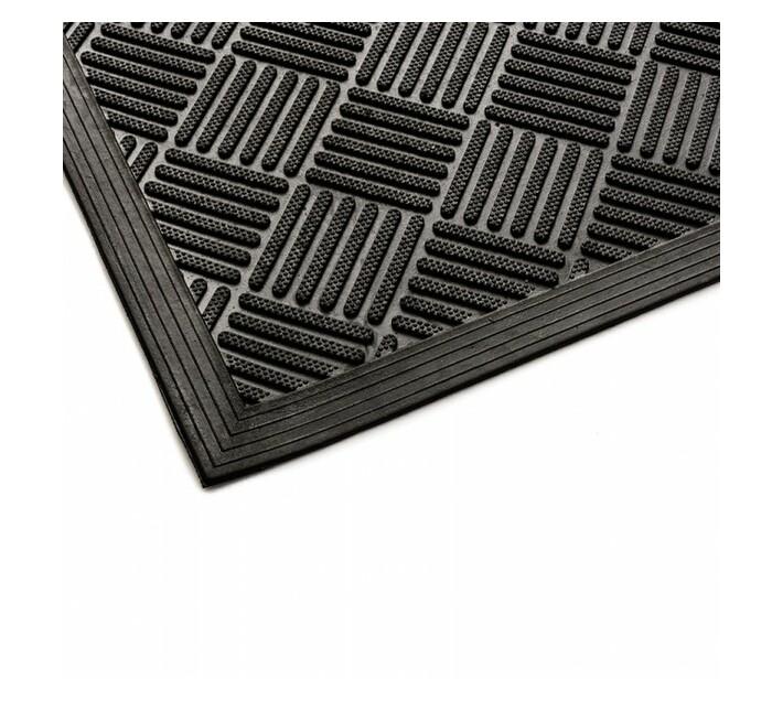 Rubber Clean Scraper Mat Checker 1500x900 Black 10mm