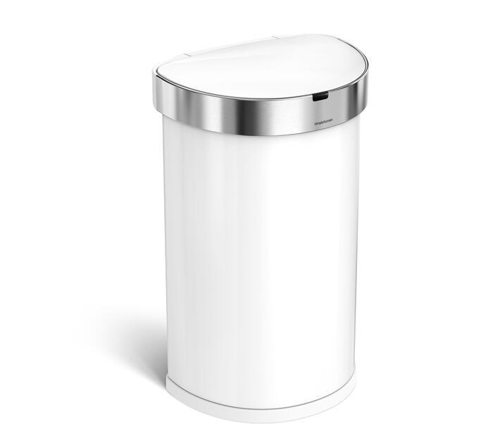SIMPLE HUMAN 45L Semi-Round Sensor Bin - White Stainless Steel