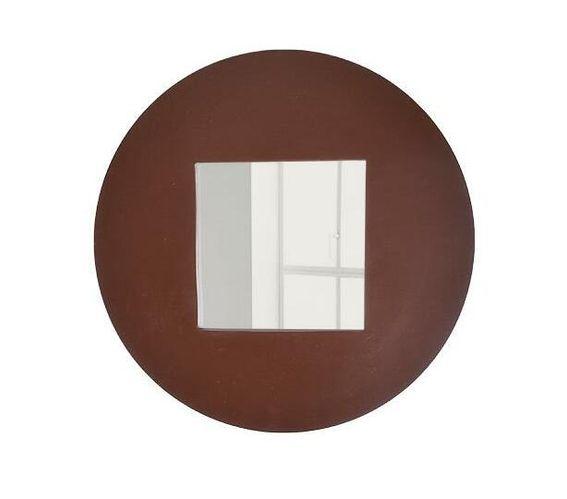 Round wooden frame mirror - Brown