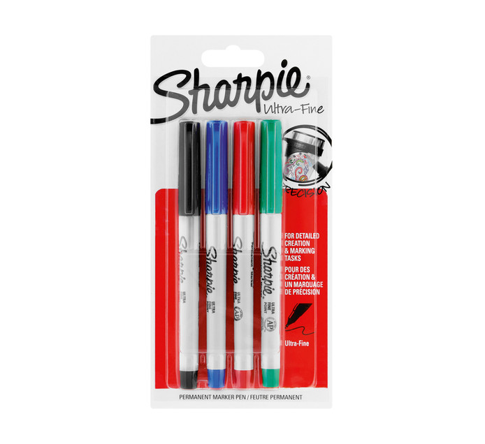 Sharpie Permanent Markers Ultra-Fine Assorted 4-Pack Assorted