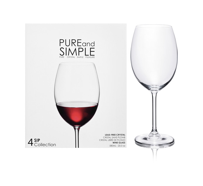 580 ml Pure & Simple Red Wine Glasses 4-Pack