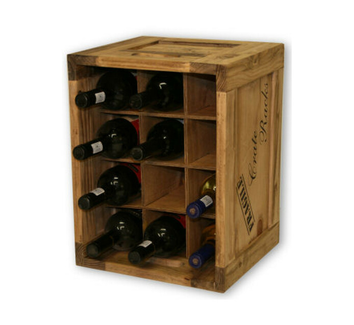 River Woods Small 12 Bottle Wooden Wine Crate