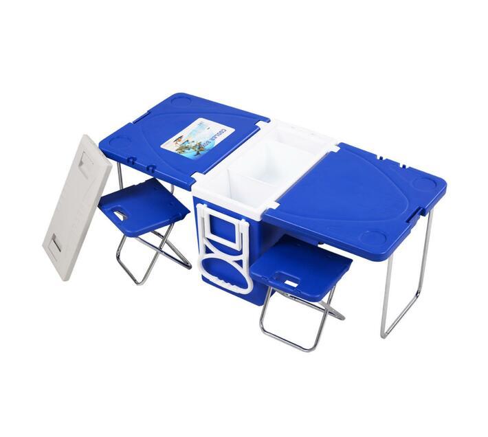 Folding Table Chair Set-Blue-28L Cooler Box