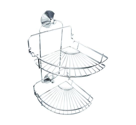 Wildberry Double Suction Chrome Corner Shower Caddy