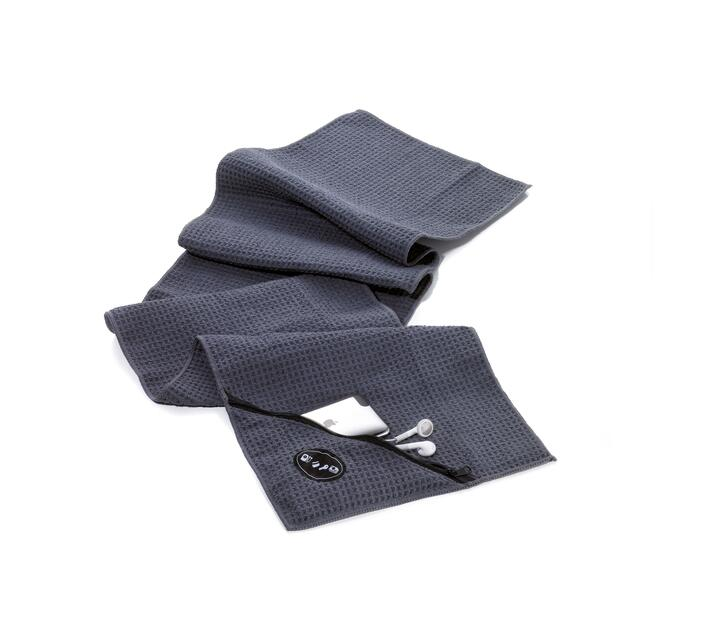 Troika Gym Towel with Integrated Zip Pocket SCHWITZABLEITER Grey