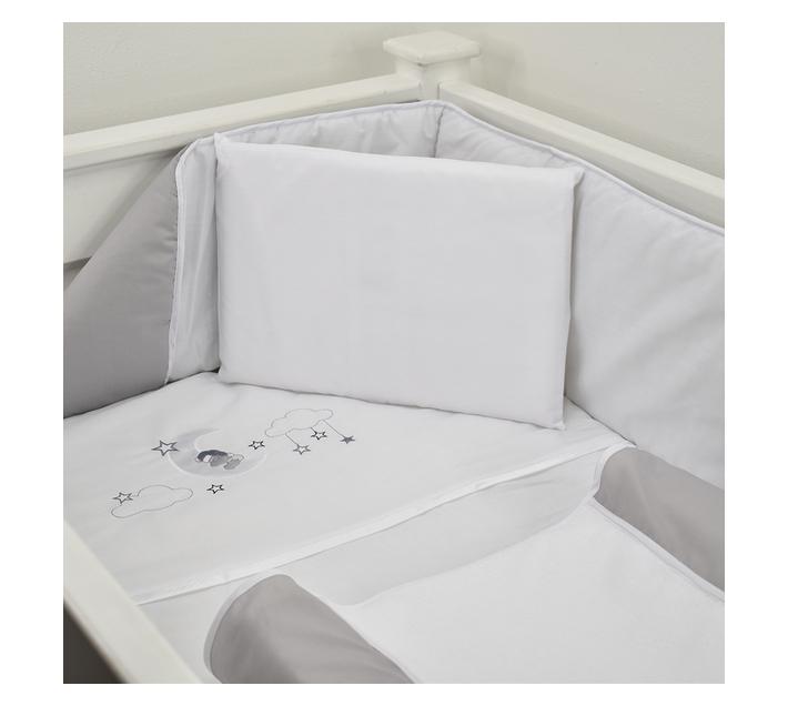 5 Piece Cot Linen Set - Grey Sleepy Bear On Moon