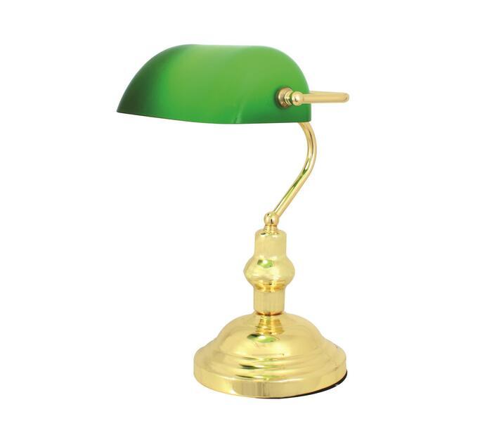 Eurolux Lawyer`s Desk Lamp Polished Brass & Green Shade