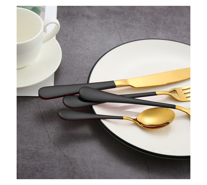 LMA Authentic Two-Tone Cutlery Dinner Set & PVC Pack - 24 Piece - Black