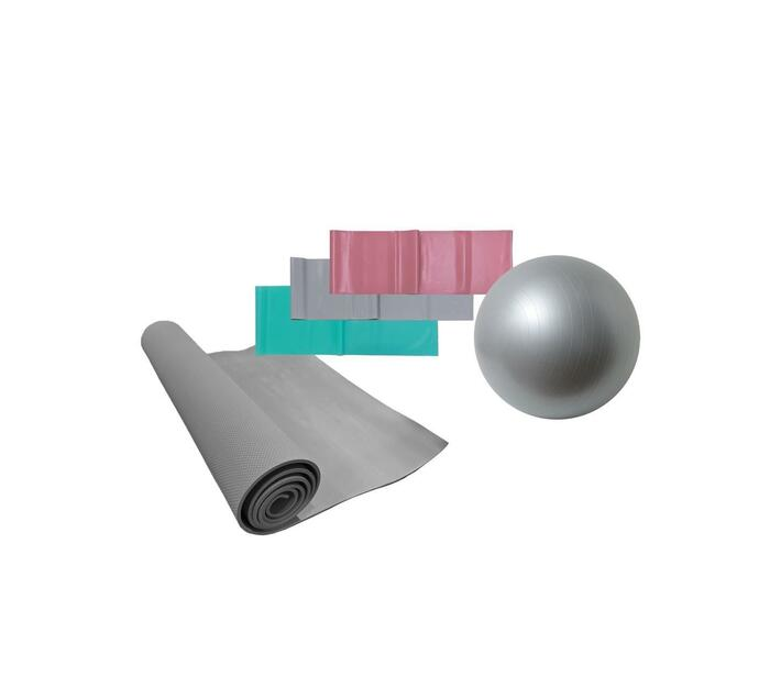 Volkano Active Yoga Starter Kit with a 55cm Anti-Burst Gym & Yoga Ball, Resistance Bands, and a PVC Yoga Mat