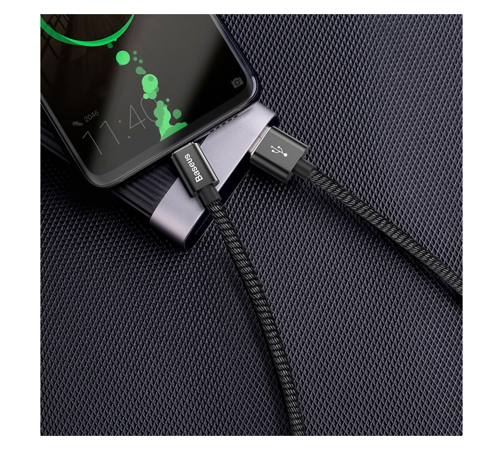 Baseus 1m - 5A Double Fast USB Type-A 2.0 to Type-C Cable for Huawei -Black