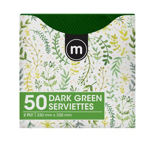 M Serviettes 2Ply 330mmx330mm Green (1 x 50's)