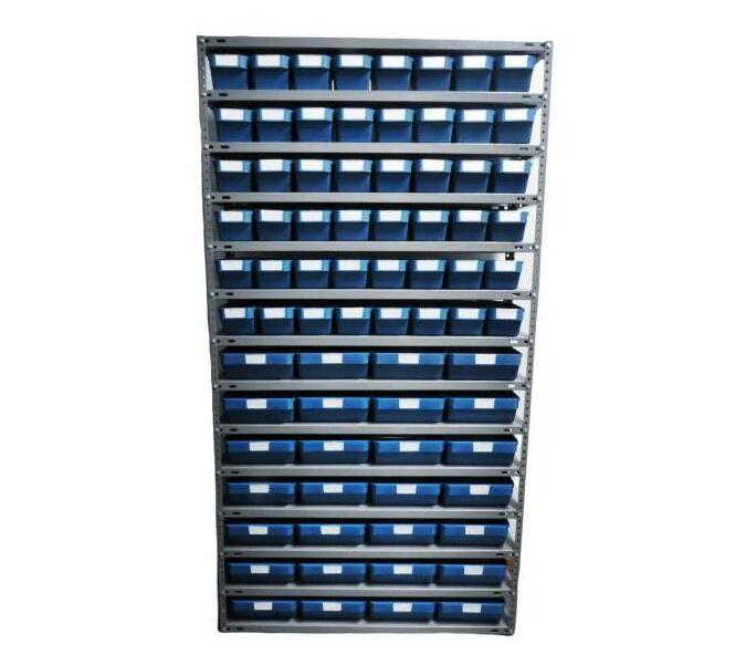 Storage Combo Steel shelf with 76 plastic storage bins