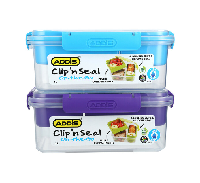 Addis 2 l Clip 'n Seal Compartment Lunch Box
