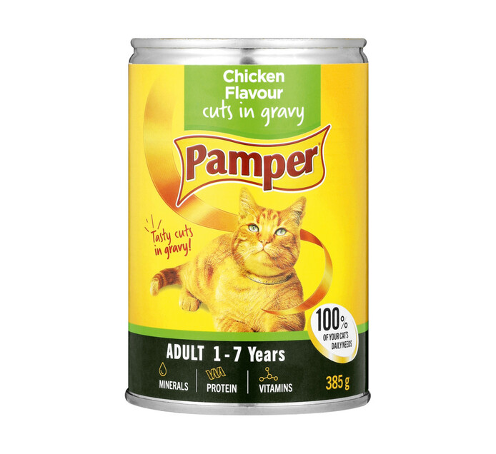 Pamper Moist Cat Food Chicken And Gravy Cuts (1 x 385g)
