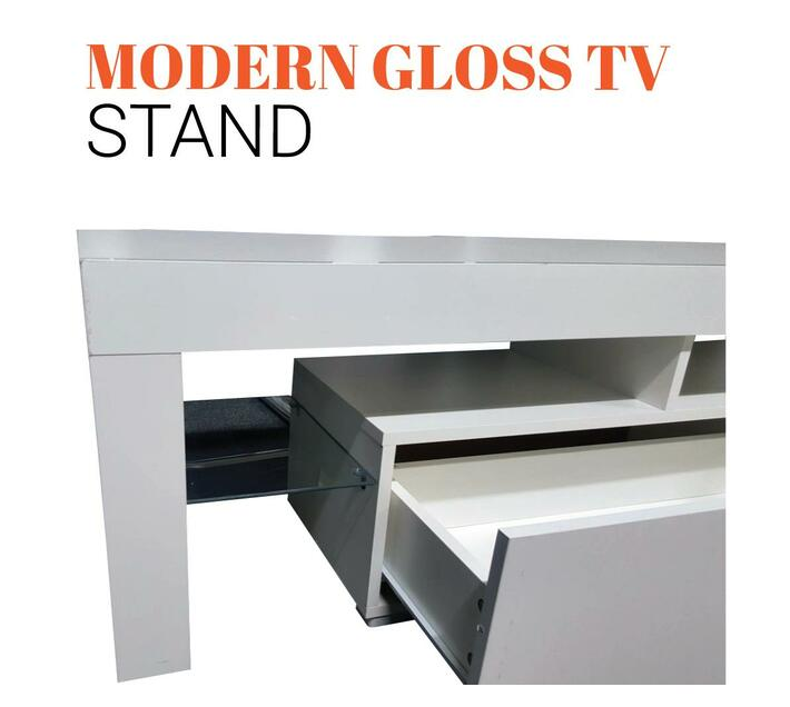 White TV Stand With Blue LED Lights G-17