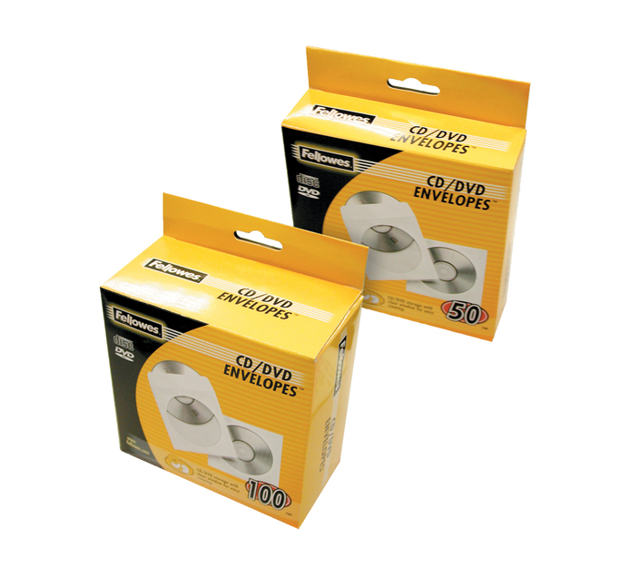 FELLOWES 50 PK CD/DVD Sleeves
