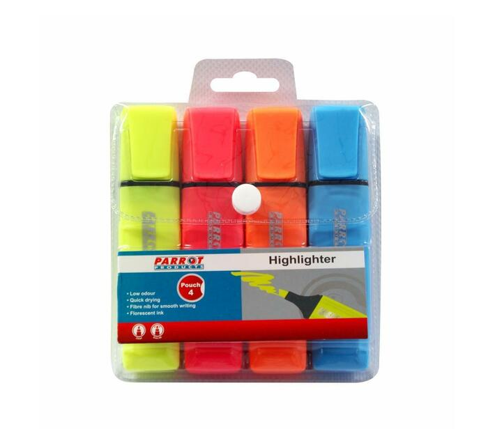 PARROT PRODUCTS Highlighter Markers Pouch 4 (Yellow, Pink, Blue, Orange)