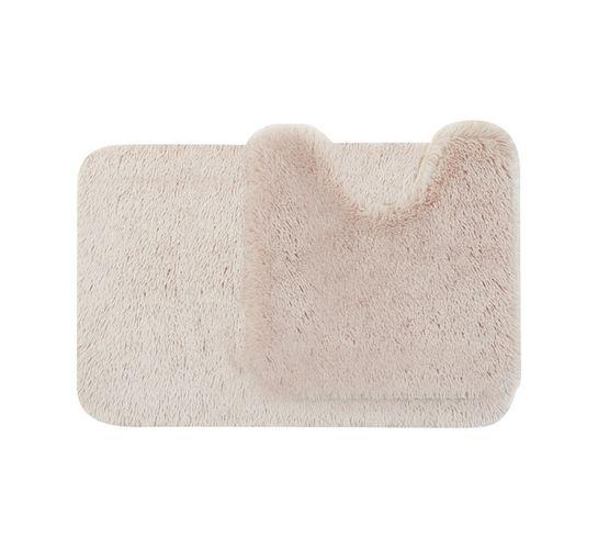 Waltex Shaggy Memory Foam Mat and Pedestal Beige