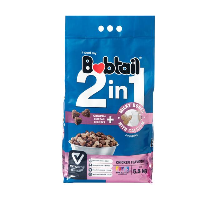 Bobtail 2 IN 1 Dry Dog Food Puppy Milky Bones Chicken (1 x 5.5kg)