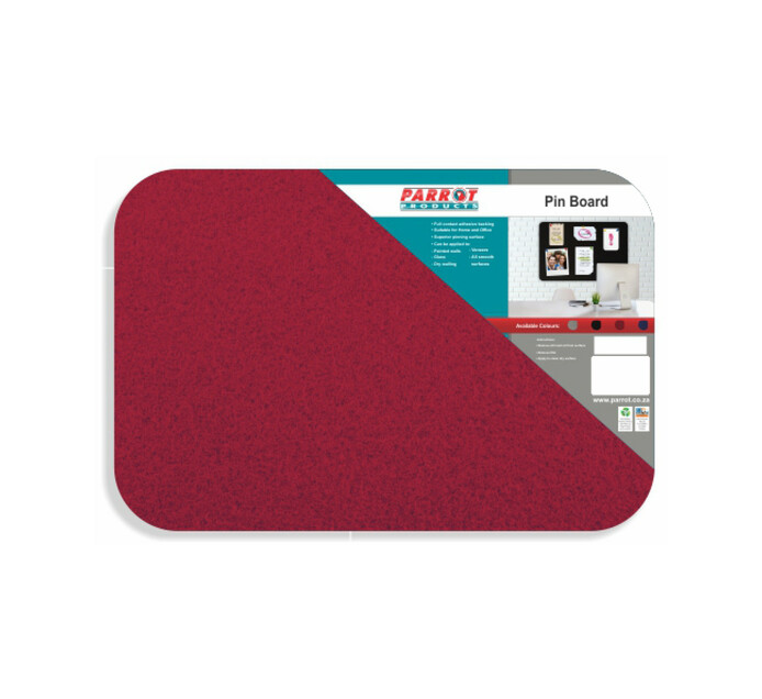 Parrot 450 x 350 mm No Frame Pin Board Red