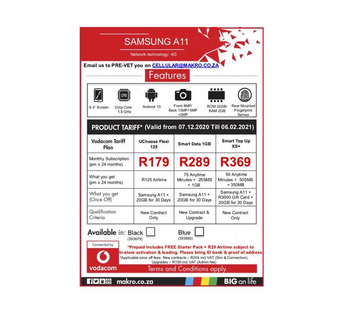 Samsung 32 GB Galaxy A11 Black
