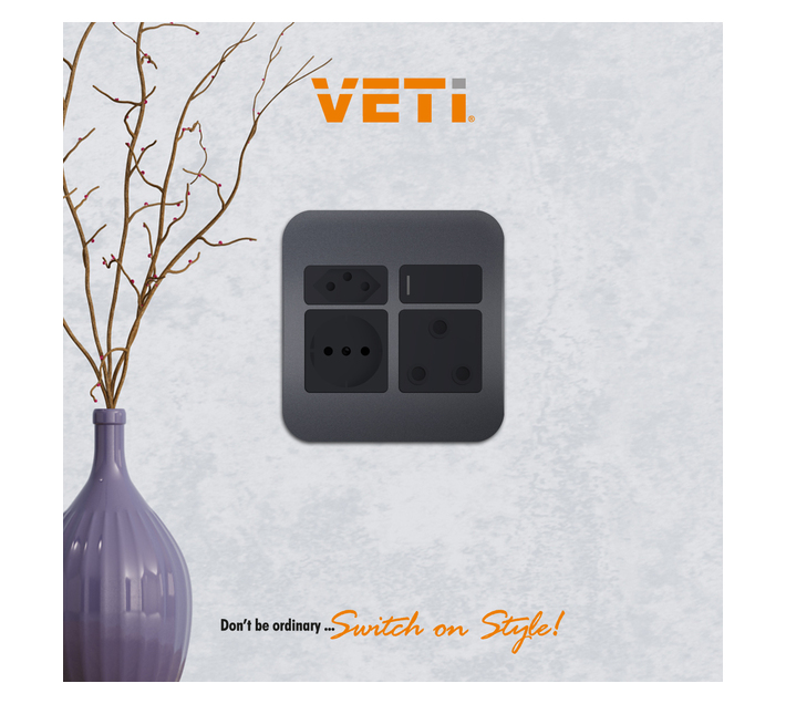 Gun Metal V-Slim, Schuko and RSA Plug Socket (VG26BGM) - VETi