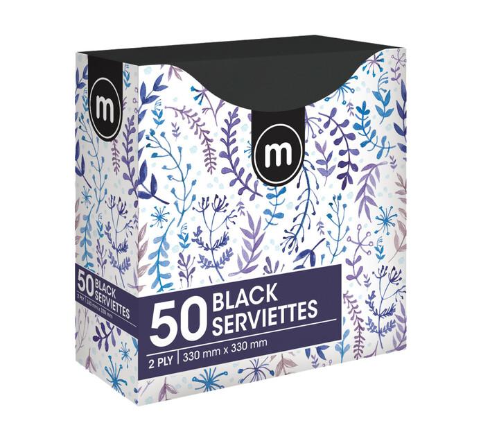 M Brand Serviettes 2Ply 330mmx330mm Black (1 x 50's)