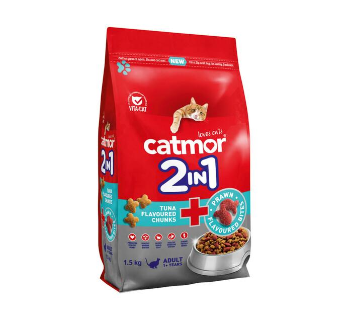 Catmor 2in1 Dry Cat Food Tuna Chunks+Prawn Bites (1x1.5kg)