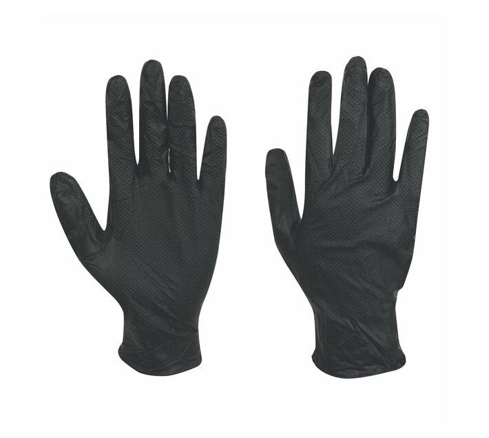 Grippaz Nitrile Gloves Black -Large (Pack of 50)