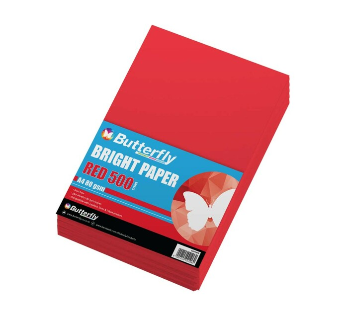 Butterfly A4 Paper Ream Bright Red 500 Sheets