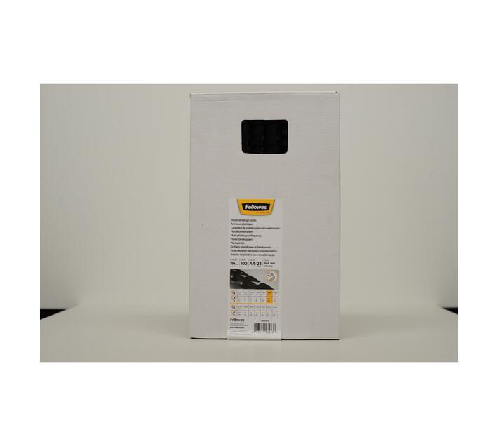 Fellowes 16mm Plastic Comb Black 100Pk