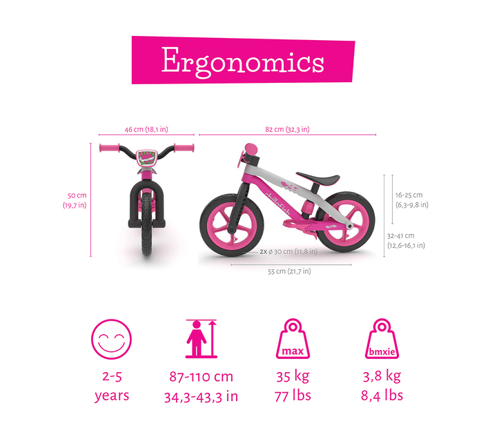 Balance Bike Chillafish Bmxie² 12'' Lightweight with Footbrake for Kids Ages 2 -5,Airless RubberSkin Tires, Adjustable Seat Without Tools ,Real BMX/MTB designed bicycle frame, PINK