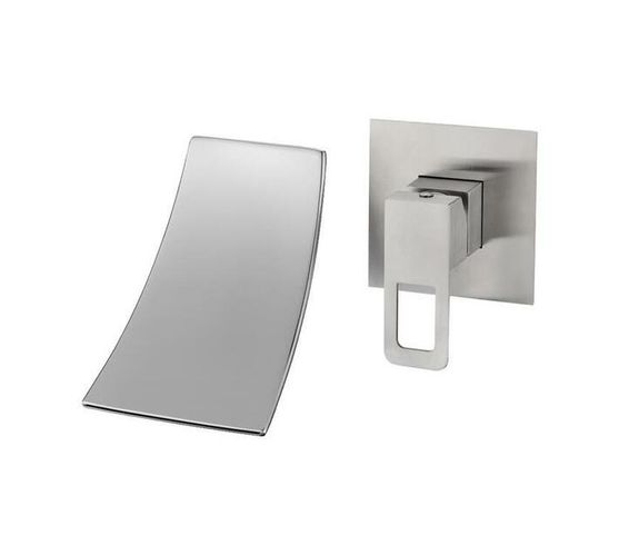 CHROMECATER Wall Mounted Bath Mixer Wide Square Spout Brushed S/Steel