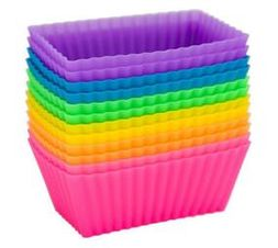 Set of 12 Silicone Rectangular Muffin Moulds