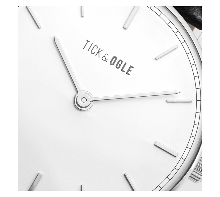 Tick & Ogle Mens Watch with Bold White Dial & Black Leather Strap