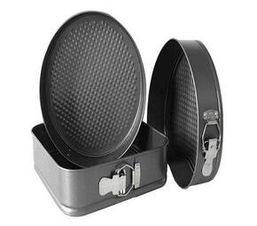 3 Pieces Carbon Steel Non-Stick Cake Pan Set With Removable Bottom