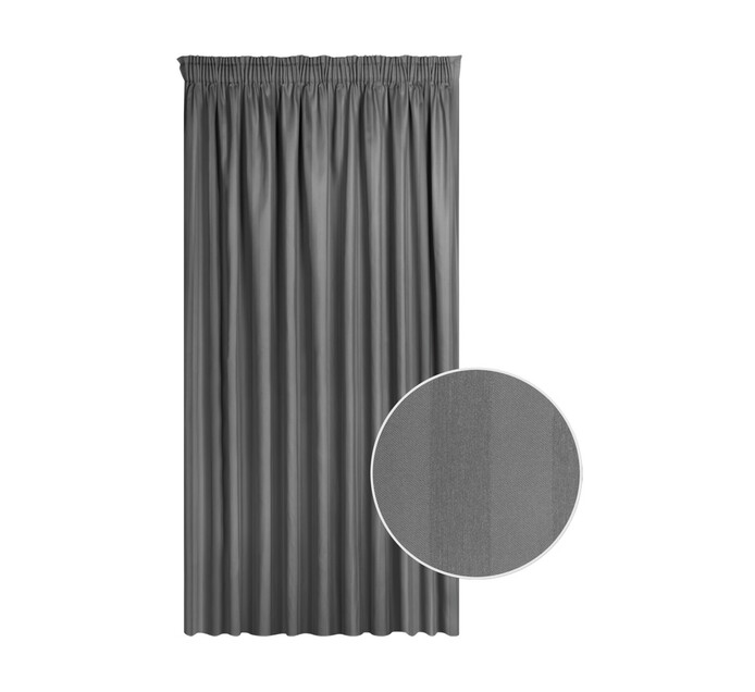 Cq Classic Collection 230 x 218 cm Cassidy Taped Curtain Charcoal
