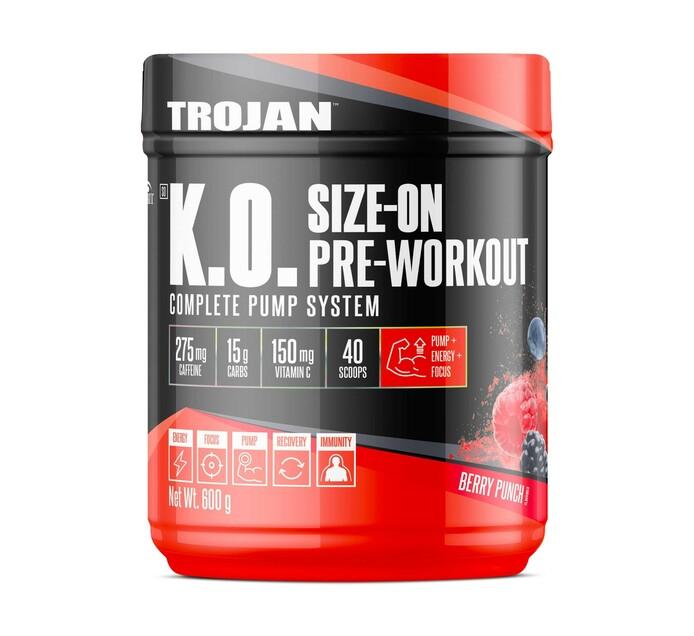 Trojan 600 g K.O Size-On Pre-Workout Berry Punch