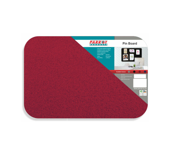 Parrot 600 x 450 mm No Frame Pin Board Red