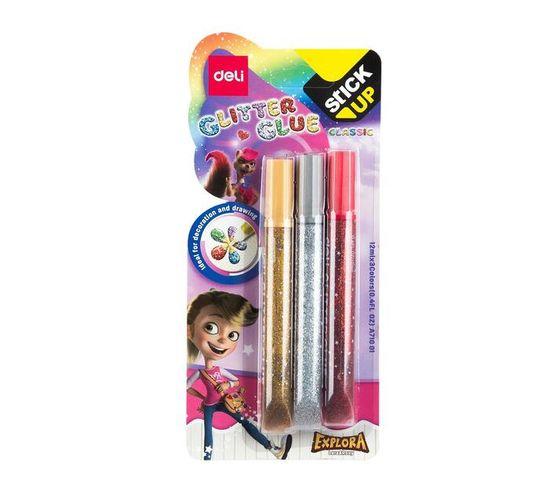 Deli Stationery Glitter Glue 12Ml*3 Colorful