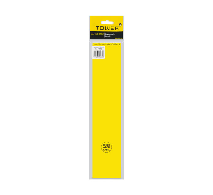 Tower Lever Arch Labels Yellow 12-Pack Yellow