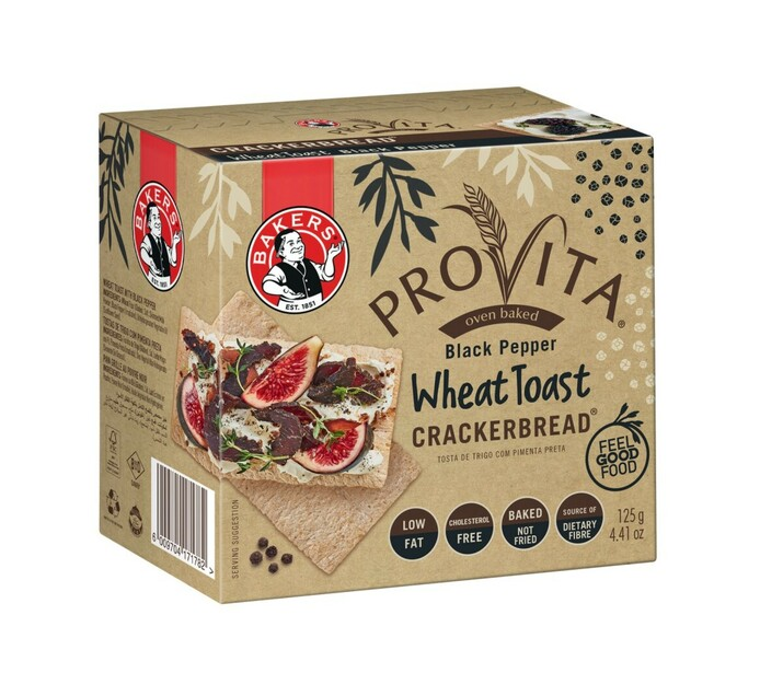 Bakers Crackerbread Savoury Biscuits Black Pepper (1 x 125g)