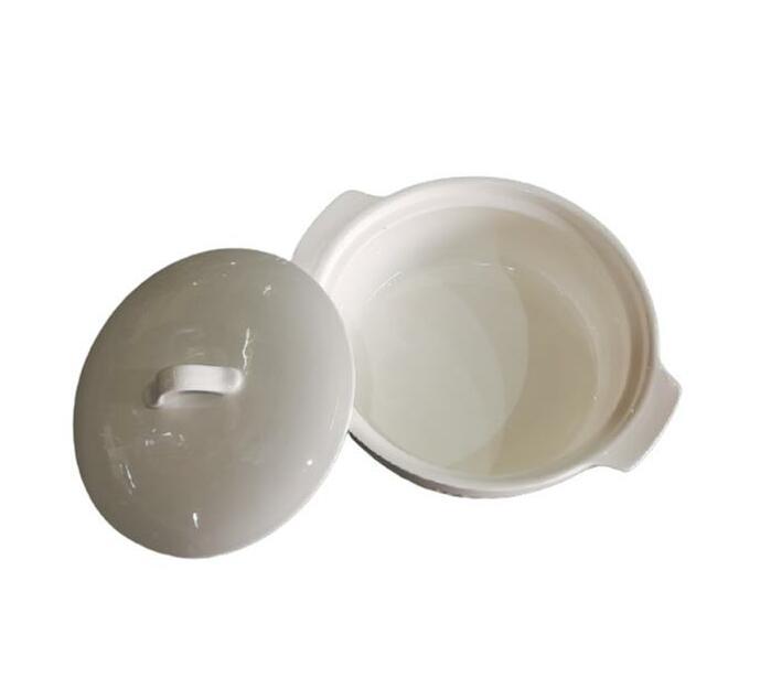 Casserole With Lid 29x25x9cm Porcelain White Floral Design W35