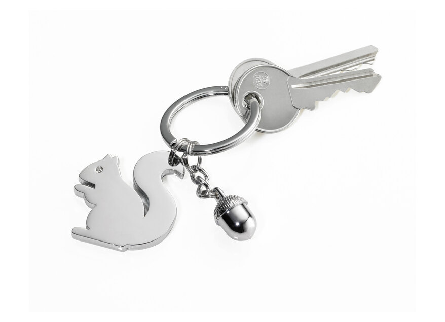 Troika Key-ring Squirrel and Acorn Charms Silver