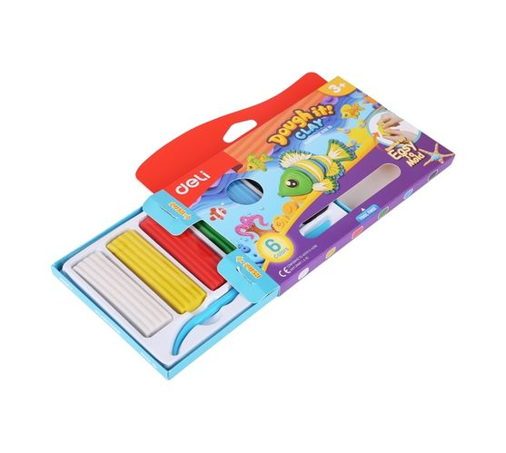 Deli Stationery Plasticine 6 Colors, Net Weight: 120G Asst.