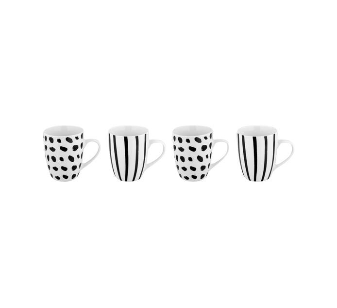 Basic White 350 ml Artisan Striped Coffee Mugs 4-Pack